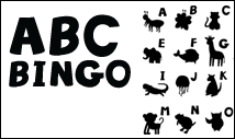 black abc bingo card template with images