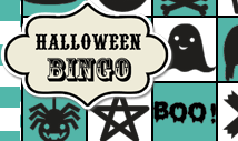 Blue halloween bingo card template -Retro