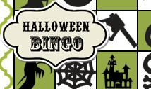 Green halloween bingo card template -Retro