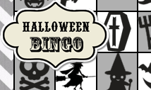 Grey halloween bingo card template -Retro