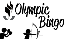 black olympic sports bingo card template with pictures